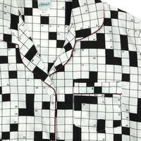 "USED ""HABAND"" CROSSWORD PRINT PAJAMA SHIRT"