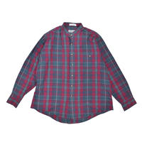 "USED ""MEMBERS ONLY"" PLAID BAND COLLER SHIRT"