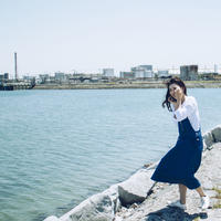 リネン混サロペットワンピース 【ブルー】