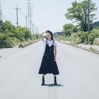 リネン混サロペットワンピース 【ブラック】