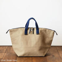 CaBas N°32 Bowler bag medium + Shoulder strap   [Khaki beige / Navy]