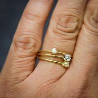 ラフダイヤモンド(ダイヤモンド原石)K18YGの細い指環 0.12ct