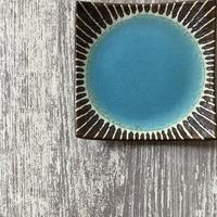 マカロンシリーズ 5寸正方皿 ターコイズ 3