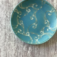 アラベスクシリーズ 7寸皿 ターコイズ 4