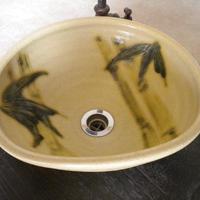 黄瀬戸竹変形手洗い鉢