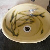 黄瀬戸稲穂変形手洗い鉢