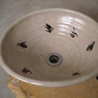 白萩鳥絵変形手洗い鉢