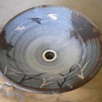 鼠志野鳥絵変形(大)一品物 手洗い鉢