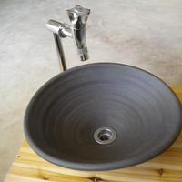炭化黒変形一品物 手洗い鉢