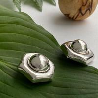 Hexagon Button Earring