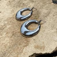 Puffy Hoop Swing silver pierce