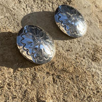 Hand stamped Concho Sterling Silver Pierce