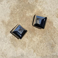 Sun Sculpture Square Onyx Earring