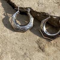 Octagon hoop Sterling silver Pierce
