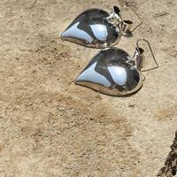 Ribboned Heart Solid silver pierce