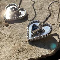 Heart Shaped Onyx Studs silver pierce