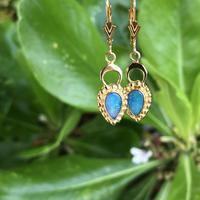 Australian Doublet Opal & Crescent Moon Earrings