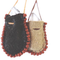 Original Mini Pouch Protector —Black leather & Red beads