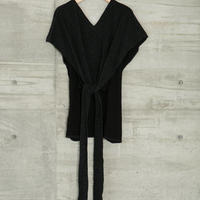 PILE BELT PONCHO in Black