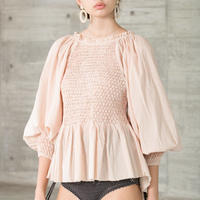 SMOCKING BK OPEN BLOUSE in Beige