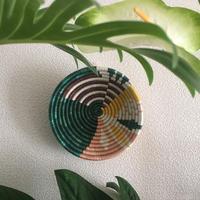 "6"" Small Dusty Peach + Fir Biko Round Basket"