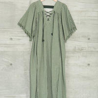CHECK LACE UP OP In Green