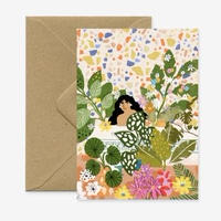 """""""Bathing with Flowers"""" Greeting Card"""