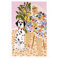 """Lady and Dalmatian"" Art Print A4"