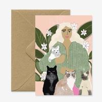 """Cat Lady"" Greeting Card"