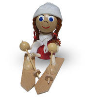 チェコおすわり人形 おさげ髪の女の子onスキー  ABAfactory
