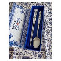 【香港☆青花瓷】<禮物>藍の箸と匙  /  涼やかで素敵なセット・化粧箱入り