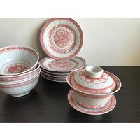 【香港☆中国景徳鎮】手書き1970年代 龍(紅)蓋碗・茶杯  /  綺麗な蛍焼き・皿とボウルもあります