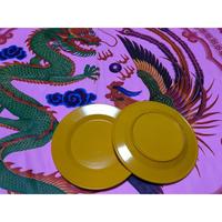 【香港☆メラミンお皿】<直径17.5cm>  濃い黄色・辛子色のメラミンお皿 / 家居用品