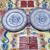 【香港☆中国景徳鎮】蛍焼き・龍柄の大皿  / 明りに透かすと綺麗です  G-5888