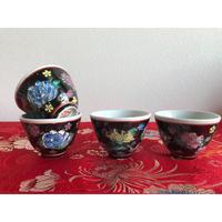 【香港☆中国景徳鎮】シノワなフラワー茶杯 2pcs=1組   / 黒地にお花が映えます