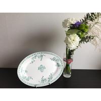 【香港☆粵東磁廠】(緑)手書きの少し大き目 Oval dish / Yuet Tung China Works 2003