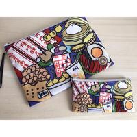 ☆Handmade☆【香港・HANDMADEship】(大) 賑やかな小食・A4袋 /  ふわふわポーチ♡バッグインバッグ