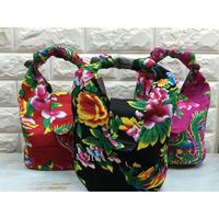 ☆Handmade☆【香港・花布】 かわいいハンドバッグ / 3色・持ち手調整可能