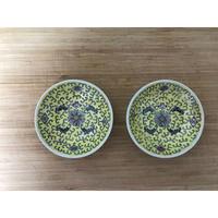 【香港☆景徳鎮制】小皿  / お皿全体に模様(黄)