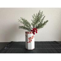 【香港☆粵東磁廠】(紅)手書きペニンシュラ柄 八角Flower Vase等として  / Yuet Tung China Works