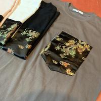 【SKREWZONE】VINTAGE CUSTOM CHINA DRESS BIG POCKET TEE BLACK