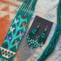 NAVAJO 『BEADS NECKLACE&PIERCE SET(GREEN)』