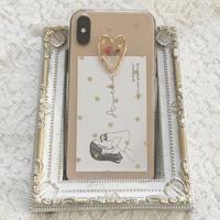 ピンクかすみ草×ハートホロ iPhoneケース