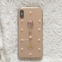 お花とパール iPhoneケース