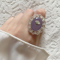 一輪かすみ草リング 紫苑