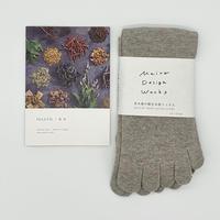 MAITO 綿5本指ソックス グレー 矢車附子染め 22~25cm 靴下 コットン 綿100% 日本製 Made in Japan