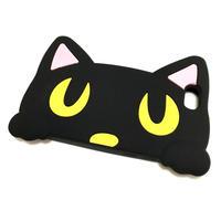 iphone7 ケース シリコン ソフト 3D 黒猫 ねこ