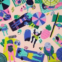 【Kim Sielbeck キム・シルベック】デジタルプリントアート Beach Party 11×14