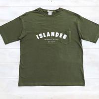 ISLANDER/アイランダー アーチロゴ ビッグシルエット胸ポケットTシャツ(シティグリーン)