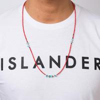 ISLANDER(アイランダー)3WAYネイティブロングビーズネックレス/アンクレット/ブレスレット(レッド)